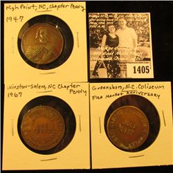1405 . (3) North Carolina Tokens: High Point, NC 1947 Chapter Penny, Winston-Salem, N.C. 1967 Chapte