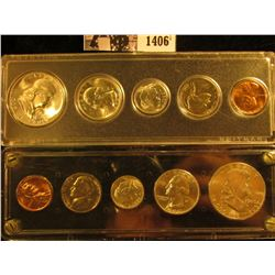 1406 . 1960 P & D Gem BU Mint Set in a pair of Snap-tight coin holders.