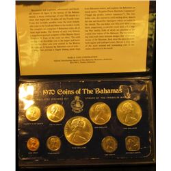 "1408 . 1970 ""Coins of the Bahamas"" 9-piece Original Silver Set in Mint holder. Struck by the Frankli"