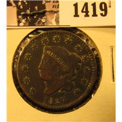 1419 . 1827 U.S. Large Cent, VG-F. Rim dings.