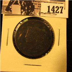 1427 . 1837 U.S. Large Cent, Very Good. Rim tick.