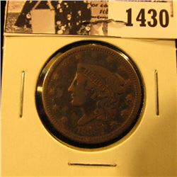 1430 . 1838 U.S. Large Cent, Very Good. Reverse corrosion.