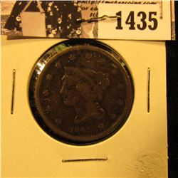 1435 . 1841 U.S. Large Cent, Very Good.