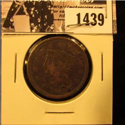 1439 . 1845 U.S. Large Cent, Very Good. Obverse verdigris.