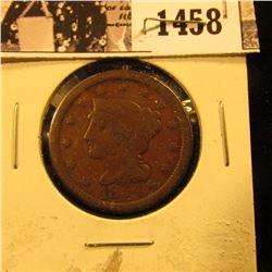 1458 . 1854 U.S. Large Cent, VG.