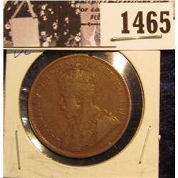 1465 . 1919 Canada Large Cent, VG Details, rim notch.