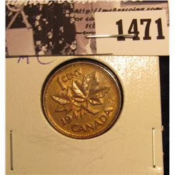 1471 . 1947 Maple Leaf Canada Cent, Brown AU.
