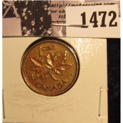 1472 . 1947 No Maple Leaf Canada Cent, Brown AU.