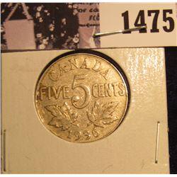 1475 . 1936 Canada Nickel EF.