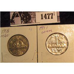 1477 . 1951 Canada Commemorative & 1958 Nickels Unc.