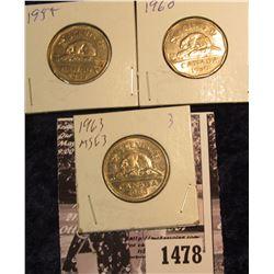 1478 . 1955 EF, 1960 Unc, & 1963 BU Canada Nickels.