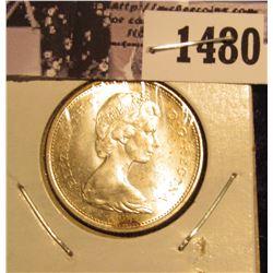 1480 . 1968 Canada Silver Quarter, Gem BU.