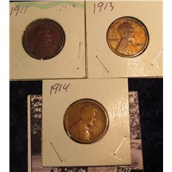 1484 . 1911 P, 13 P, & 14 P Lincoln Cents, Good.
