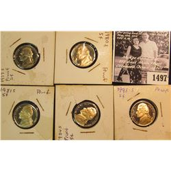 1497 . 1977 S, 80 S, 84 S, & 93 S Gem Proof Jefferson Nickels. All carded in 2 x 2s.