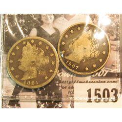 """1503 . 1884 & 1907 U.S. Liberty """"V"""" Nickels, Good."""