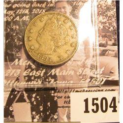 "1504 . 1883 No Cents U.S. Liberty ""V"" Nickel. VF."
