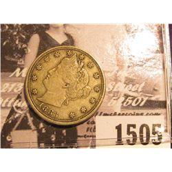 "1505 . 1883 No Cents U.S. Liberty ""V"" Nickel. VF."