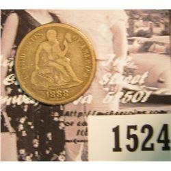 1524 . 1888 P U.S. Seated Liberty Dime, VG.