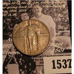 1537 . 1930 P U.S. Standing Liberty Quarter, nice natural toned AU.