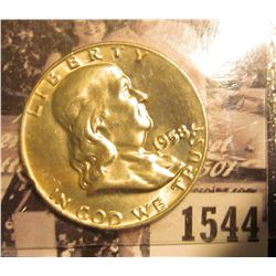 1544 . 1958 D Franklin Half Dollar, Brilliant Uncirculated.