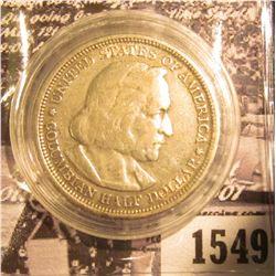 1550 . 1893 Columbian Exposition Commemorative Silver Half-Dollar, EF.