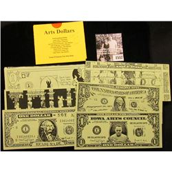"1557 . (7) Different Iowa ""Arts Dollars"" with literature from ""Iowa Citizens for the Arts""."