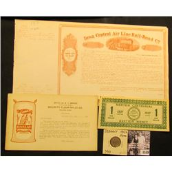 """1559 . 1928 A German 50 Pfennig, Y43, AU; 1923 Advertising card """"Office of S.I. Bragg District Sales"""