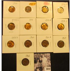 1641 . 1940P, D, 41P, D, S, 54P, D, S, 55S, 64P, D, 65P, & 66P Lincoln Cents all grading from Brown