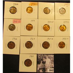 1642 . 1940P, D, 41P, D, S, 54P, D, S, 55S, 64P, D, 65P, & 66P Lincoln Cents all grading from Brown