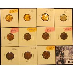 1646 . 1935P, 37P, S, 39P, 40P, D, 41P, S, 42P, D, & S Lincoln Cents all grading from Brown Unc to S