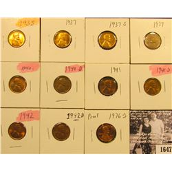 1647 . 1935P, 37P, S, 39P, 40P, D, 41P, S, 42P, D, & 76 S (Proof) Lincoln Cents all grading from Bro