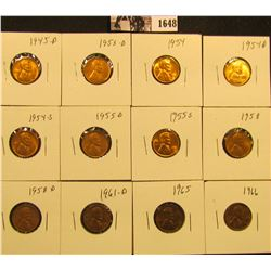 1648 . 1945D, 53D, 61D, 54P, D, S, 55D, S, 58P, D, 65P, & 66P Lincoln Cents all grading from Brown U