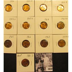 1650 . 1950P, D, 51D, 54D, S, 55S, 64P, D, 65P, 66P, 67P, 74D, & 81S (Proof) Lincoln Cents all gradi