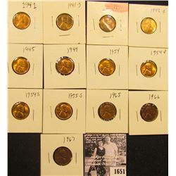 1651 . 1941P, S, 42P, D, 45P, 49P, 51P, 54D, S, 55S, 65P, 66P, & 67P Lincoln Cents all grading from