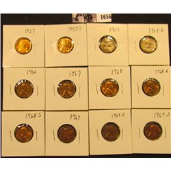 1656 . 1937P, 55S, 64P, D, 66P, 67P, 68P, D, S, 69P, D, & S Lincoln Cents all grading from Brown Unc