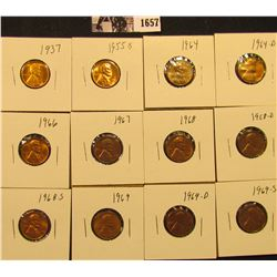 1657 . 1937P, 55S, 64P, D, 66P, 67P, 68P, D, S, 69P, D, & S Lincoln Cents all grading from Brown Unc