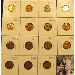 1662 . 1937P, S, 39P, 54S, 55S, 63P, D, 64P, D, 67P, 68P, D, S, 69D, & S Lincoln Cents all grading f