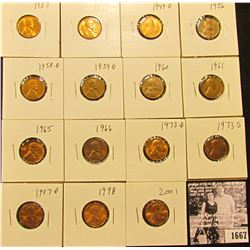 1667 . 1937P, S, 49D, 56P, 58D, 59D, 60P, 61P, 65P, 66P, 73D, S, 97D, 98P, & 2001P Lincoln Cents all