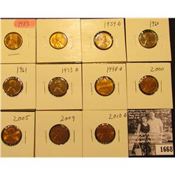 1668 . 1937P, S, 59D, 60P, 61P, 73D, 98D, 2000P, 2005P, 2009P, & 2010D Lincoln Cents all grading fro