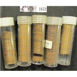 1672 . (43) Early Date Wheat Cents, loose and not carded; (73) 1928P Cents in a plastic tubes; & (91