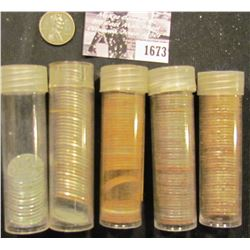 1673 . (201) 1943 Old World War II Steel Cents in plastic tubes.