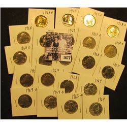 1677 . 1963D, (2) 64P, (1) D, (3) 65P, (3) 68P, (6) D, (3) 69P, (3) D Washington Quarters. All Gem B