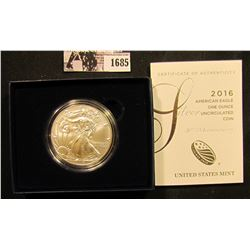 1685 . 2016W U.S. Silver American Eagle Silver Dollar, Brilliant Uncirculated in the original box of