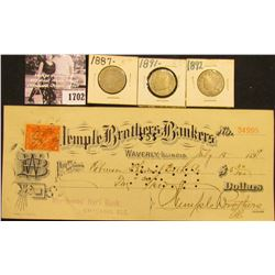1702 . 1887, 1891, & 1892 Liberty Nickels AG-G: & July 15, 1899 Check with 2c magenta Documentary St