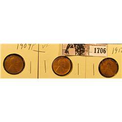 1706 . 1909 P G+, 09 P VDB VF, & 12 D Good Lincoln Cents.