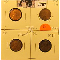 1707 . 1909 P G, 09 P VDB EF, 10 P VF & 11 P VG Good Lincoln Cents.