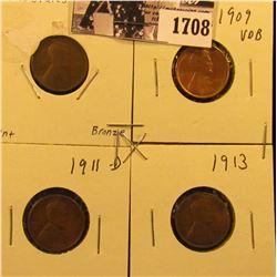 1708 . 1909 P Good, 1909 P VDB AU58, 11 D VG, & 13 P Fine Lincoln Cents.
