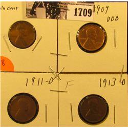 1709 . 1909 P Good, 1909 P VDB AU, 11 D G, & 13 D Fine Lincoln Cents.
