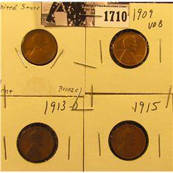 1710 . 1909 P Good, 1909 P VDB AU, 13 D G, & 15 D Good Lincoln Cents.