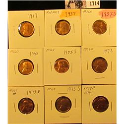 1714 . 1917 P, 37 P, S, 40 P,55 S, 72 P, 73 D, S, & 78 P Red Brilliant Uncirculated Lincoln Cents.